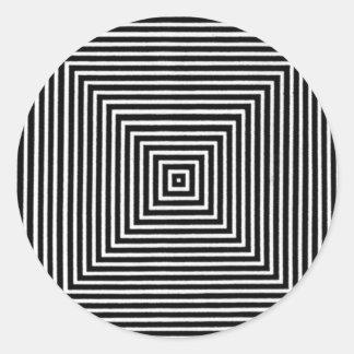 Cuadrados blancos y negros visuales del arte de pegatina redonda