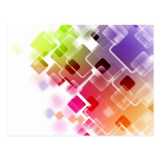 Cuadrados coloreados acodados postal