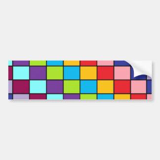 Cuadrados coloreados etiqueta de parachoque