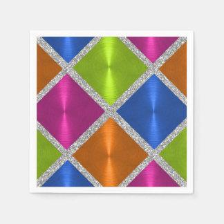 Cuadrados coloreados multi con el brillo de plata servilletas de papel