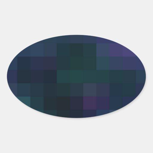 Cuadrados coloreados reconstruidos pegatina ovalada