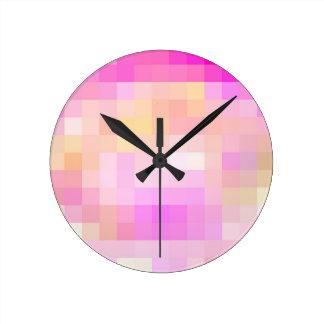 Cuadrados coloreados reconstruidos reloj redondo mediano