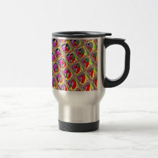 Cuadrados coloridos abstractos taza de viaje