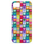Cuadrados coloridos del corazón iPhone 5 Case-Mate carcasa