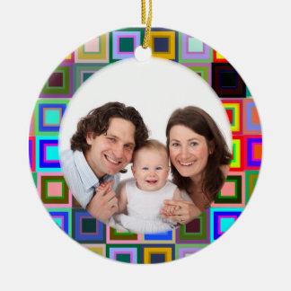 Cuadrados coloridos/foto adorno navideño redondo de cerámica