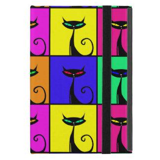 Cuadrados coloridos frescos del arte pop del gato iPad mini carcasa