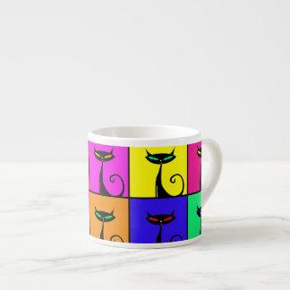 Cuadrados coloridos frescos del arte pop del gato  taza espresso