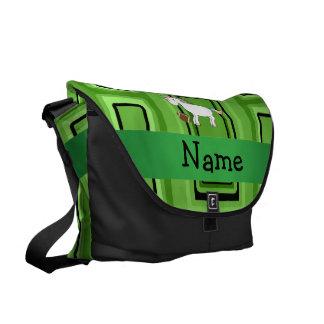 Cuadrados conocidos personalizados del verde del f bolsa de mensajería