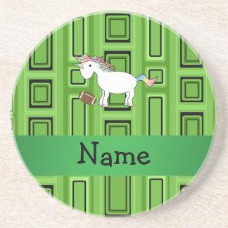 Cuadrados conocidos personalizados del verde del f posavasos diseño