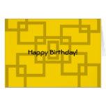 Cuadrados contemporáneos del oro en amarillo tarjeta