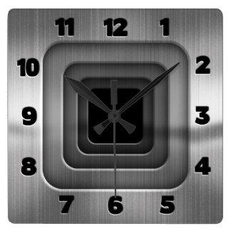 Cuadrados de acero concéntricos reloj cuadrado