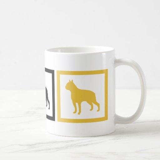 Cuadrados de Boston Terrier Tazas