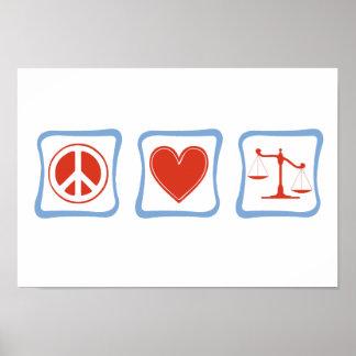 Cuadrados de los abogados del amor de la paz impresiones