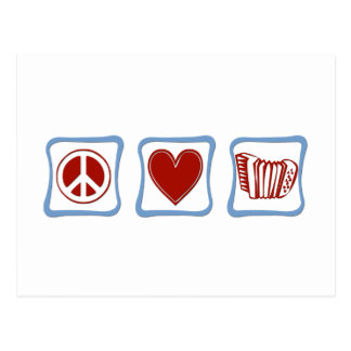 Cuadrados de los acordeones del amor de la paz tarjetas postales