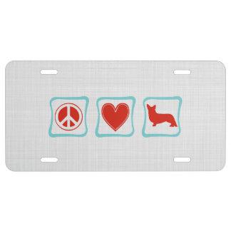 Cuadrados de los Corgis del amor de la paz Placa De Matrícula