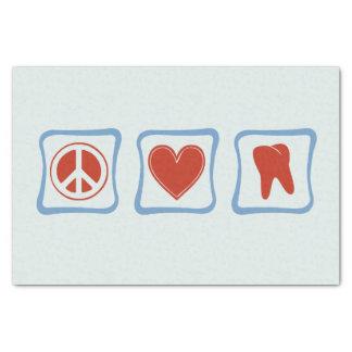 Cuadrados de los dentistas del amor de la paz papel de seda pequeño