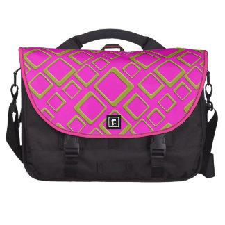 Cuadrados de oro retros en bolso rosado del ordena bolsas de portátil