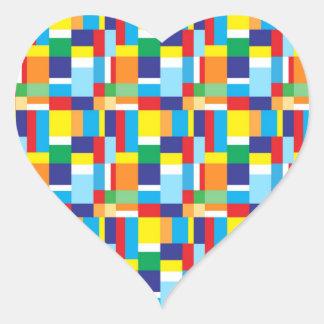 Cuadrados de tela escocesa coloridos brillantes pegatina en forma de corazón