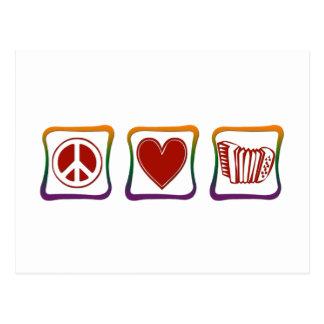 Cuadrados del arco iris de los acordeones del amor tarjeta postal