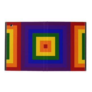 Cuadrados del arco iris iPad funda