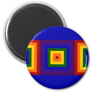 Cuadrados del arco iris imán redondo 5 cm