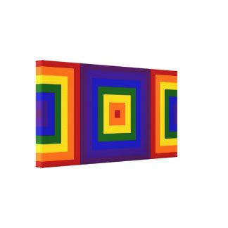 Cuadrados del arco iris impresión en lienzo