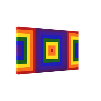 Cuadrados del arco iris impresión en lienzo estirada