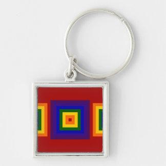 Cuadrados del arco iris llavero cuadrado plateado