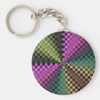Cuadrados del arco iris llavero redondo tipo pin