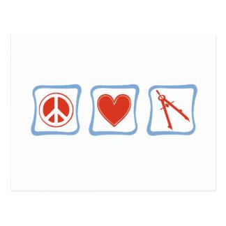 Cuadrados del arquitecto del amor de la paz postal