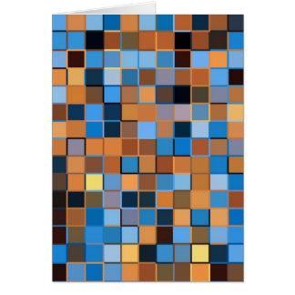 Cuadrados del azul y de marrones tarjeta de felicitación