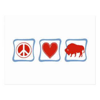 Cuadrados del búfalo del amor de la paz tarjetas postales
