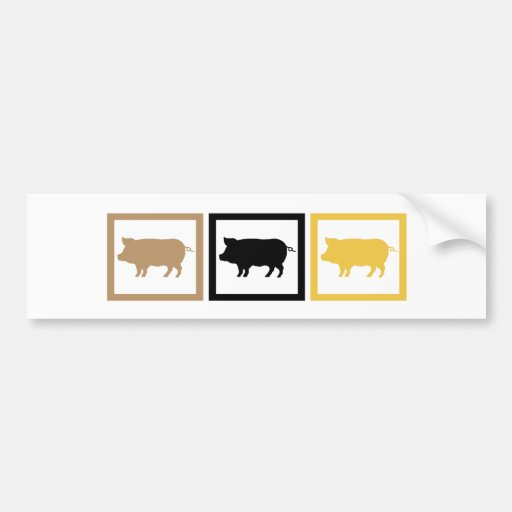 Cuadrados del cerdo pegatina de parachoque