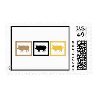 Cuadrados del cerdo timbres postales