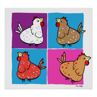 Cuadrados del color de los pollos del dibujo anima impresiones