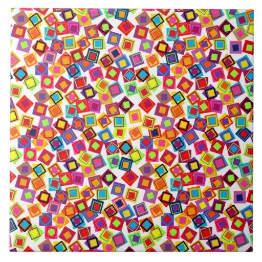 Cuadrados del confeti azulejo cuadrado grande