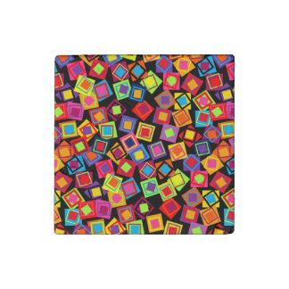 Cuadrados del confeti imán de piedra