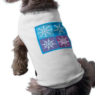 Cuadrados del copo de nieve playera sin mangas para perro
