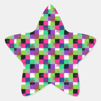 Cuadrados del flower power pegatina en forma de estrella