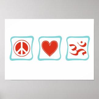 Cuadrados del Hinduism del amor de la paz Póster