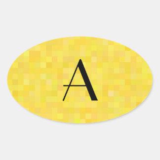 Cuadrados del mosaico amarillo del monograma pegatinas de ovaladas