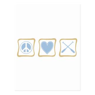 Cuadrados del Rowing del amor de la paz Tarjetas Postales