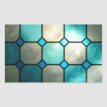 cuadrados del vitral pegatina rectangular