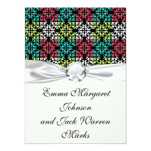 cuadrados dulces del damasco de la aguamarina invitación 16,5 x 22,2 cm