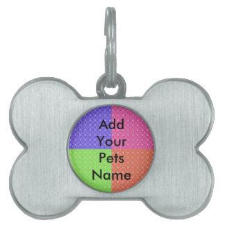 Cuadrados en colores pastel placas de nombre de mascota