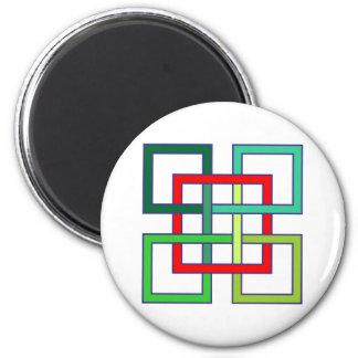 cuadrados entrelazado interwoven squares imán redondo 5 cm