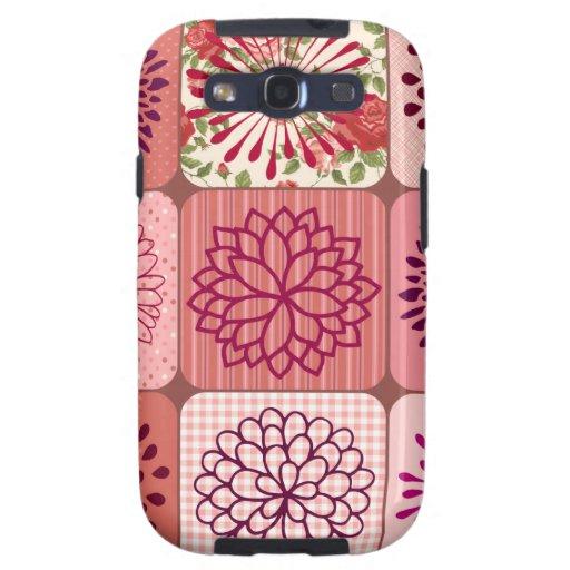 Cuadrados florales del rosa del collage de la flor galaxy SIII cobertura
