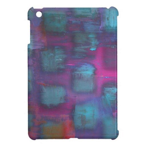 Cuadrados fluorescentes en modelo púrpura y azul iPad mini carcasa