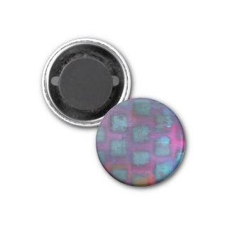 Cuadrados fluorescentes en modelo púrpura y azul imán redondo 3 cm