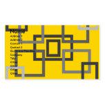 Cuadrados grises retros en amarillo tarjeta de visita